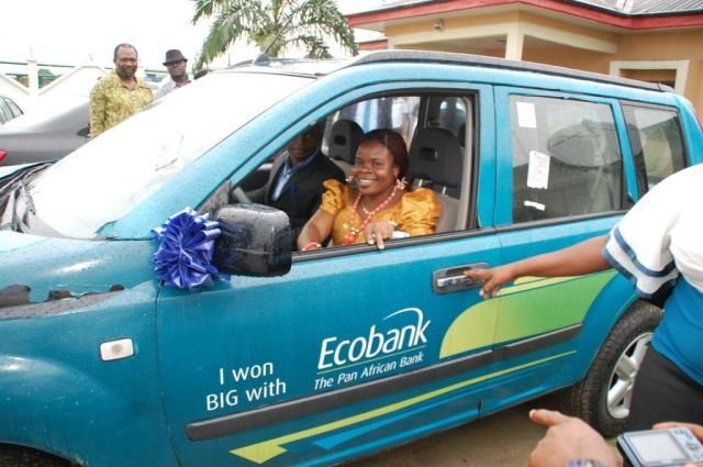 Grand Draw Winner of the Brand New Nissan SUV, Mrs. Green James Rose in Bonny, Rivers State.