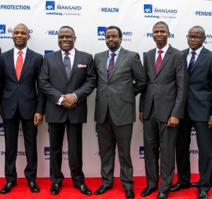 1.  L-R : Dapo Akisanya, CEO, AXA Mansard Pensions Limited;  Victor Osibodu, Chairman, AXA Mansard; Tosin Runsewe, Executive Director, AXA Mansard; Tope Adeniyi, CEO, AXA Mansard Health Limited;  and Deji Tunde-Anjous - CEO, AXA Mansard Investments Limited, at the unveiling of the new AXA Mansard pylon and introduction of new products and the Pensions business in Lagos recently.