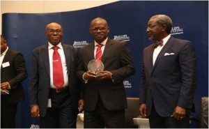 L-R: Mr. Cyril Ekechi, Deputy Director / Tax Controller, FIRS; Mr. Henry Akwara, Divisional Director, Claims & Risk Management, Mansard Insurance Plc; and Mr. Foluso Phillips, Executive Chairman, Phillips Consulting Group at the Web Jurist Awards 2014 in Lagos where Mansard emerged the Overall Winner in the Insurance Category.